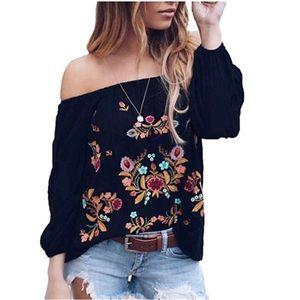 Tops - Boho Floral Embroidered Off Shoulder Blouse